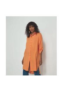 Camisa Lisa Alongada Em Viscolinho | Marfinno | Laranja | P