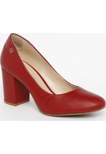 Sapato Tradicional Em Couro Com Tag - Vermelho- Saltcapodarte