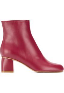 Red Valentino Ankle Boot De Bico Redondo - Vermelho