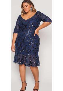 Vestido Almaria Plus Size Pianeta Midi Paetê Azul