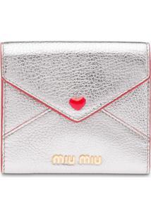Miu Miu Carteira Com Aplicação De Coração - Metálico
