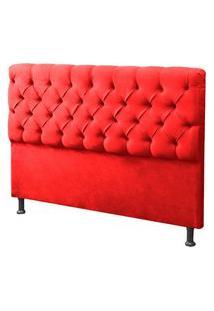 Cabeceira Casal Queen 160Cm Para Cama Box Sofia Suede Vermelho - Ds Móveis