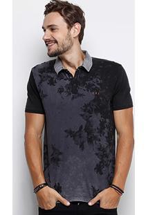 Camisa Polo Calvin Klein Stone Full Print Natural Masculina - Masculino