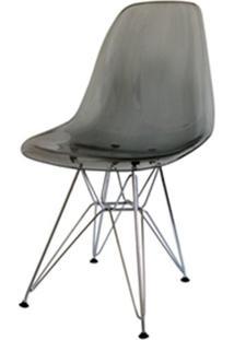 Cadeira Eames Policarbonato Fume Base Cromada - 18411 - Sun House