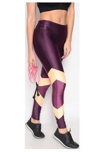 Body For Sure Legging Com Brilho Roxa & Laranja