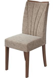 Cadeira Apogeu Velvet Riscado Bege Imbuia Naturale