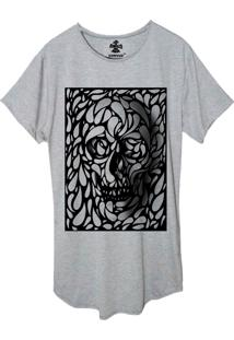 Camiseta Longline Estampada Corvuz Confusion Cinza Mescla