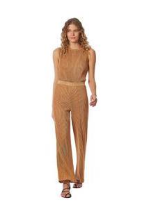 Calça Maria.Valentina Reta Cós Alto Metalizada Branco/Dourado