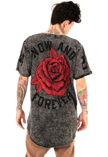 Camiseta Korova Tall Tee Dupla Face Rose Preto