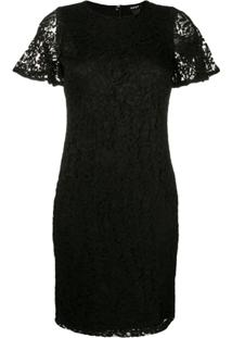 Dkny Fitted Lace Dress - Preto