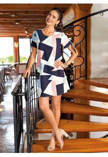 Vestido Clássico Geométrico Com Botões Forrados