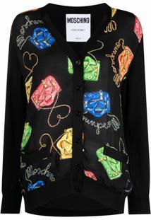 Moschino Cardigan De Tricô Com Estampa Gráfica - Preto