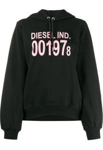 Diesel Moletom Mangas Longas Com Capuz E Logo - Preto