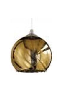 Luminária Lustre Pendente 15X15,5X15Cm Vidro Dourado