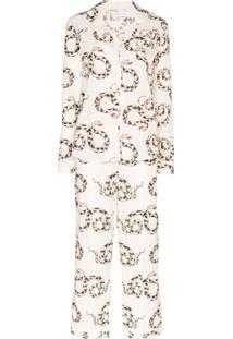 Desmond & Dempsey Pijama Com Estampa De Cobra - Branco