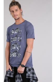 """Camiseta Masculina """"Cafe Racer"""" Manga Curta Gola Careca Azul Marinho"""