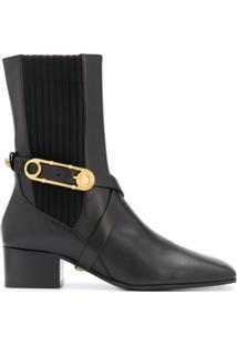 Versace Ankle Boot Com Bico Quadrado E Salto 45Mm - Preto