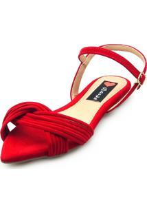 Sandalia Rasteira Love Shoes Bico Folha Tiras Cruzadas Vermelho - Vermelho - Feminino - Dafiti