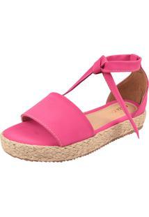 Sandália Plataforma Macerata Flatform Sola Corda Amarrar Pink