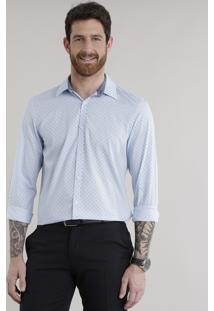 Camisa Slim Estampada Em Algodão + Sustentável Azul Claro