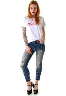 Calça Jeans Opera Rock Leg Max Emana Rasgos E Puídos Feminina - Feminino-Azul