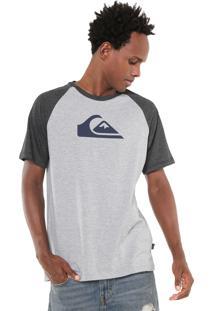 Camiseta Quiksilver Raglan Logo Cinza