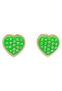 Brinco Strass Dourado Coração Bc2858