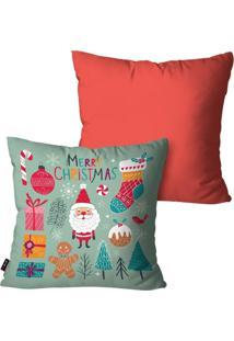 Kit Com 2 Capas Para Almofadas Pump Up Decorativas Natalinas Merry Christmas E Elementos De Natal 45X45Cm