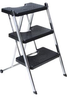 Escada 3 Degraus Anodilar - Cromada - Multistock