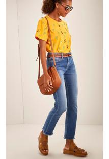 Calça Jeans Reta Cintura Média Comfort Desfiada Jeans