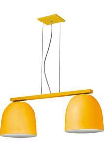 Pendente 6020 Redondo 2 Lâmpadas Amarelo Bivolt Pantoja&Carmona