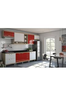 Cozinha Compacta Multimóveis Sicília 5801.132.694.131.610 Argila Branco Vermelho Se