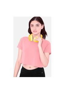 Camiseta Cropped Tsete Feminino Liso Rosa Bebê
