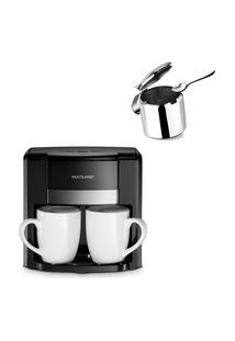 Combo Café - Cafeteira Elétrica 2 Xícaras + Colher Dosadora E Açucareiro Inox 300Ml - Be010K 220V
