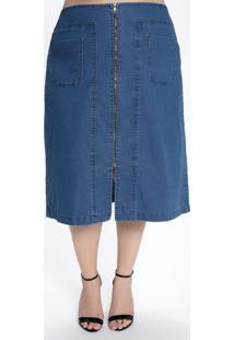 Saia Jeans Escuro Plus Size Com Zíper Frontal