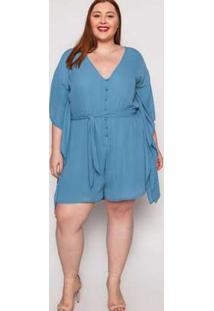 Macaquinho Almaria Plus Size Kayla Peniche Liso Azul Azul