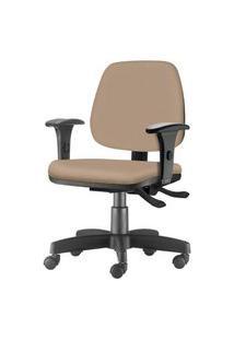 Cadeira Job Com Bracos Assento Crepe Bege Base Rodizio Metalico Preto - 54600 Bege