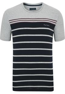 Camiseta Com Lycra Listradora Cinza Mescla
