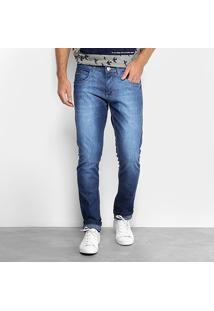 Calça Jeans Slim Zamany Pespontos Bolso Masculina - Masculino-Azul