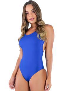 Body Mvb Modas Cavado Costa Nua Azul - Azul - Feminino - Poliã©Ster - Dafiti