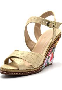 Sandália Dr Shoes Anabela Croco Areia