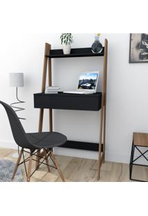 Escrivaninha Estante Com 1 Gaveta Trend Office Bliv - Preto E Castanho