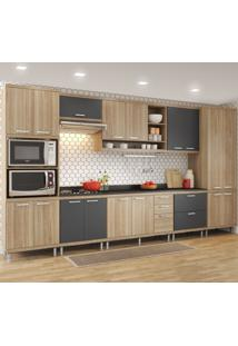 Cozinha Completa 17 Portas 5 Gavetas Sicilia 5833 Premium Argila/Grafite - Multimóveis