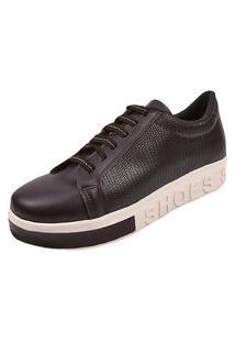 Tenis Feminino Casual Plataforma Sapatenis Sola Alta Preto Shoes