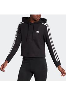 Blusão Adidas Cropped Essentials 3S Preto Feminino