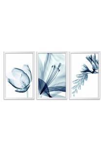 Quadro Oppen House 60X120Cm Flores Abstrato Transparentes Moldura Branca Estilo Raio X Decorativo Interiores Mod:Oh0017