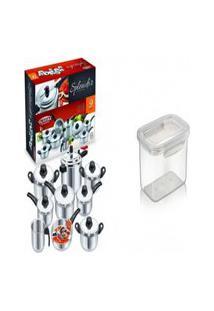 Kit Conjunto 9 Panelas + Pote Plástico Para Microondas