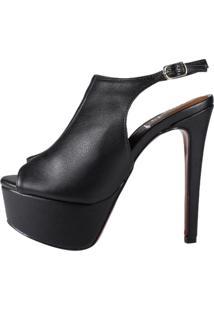 Sandália Chanel Salto Alto Week Shoes Preto