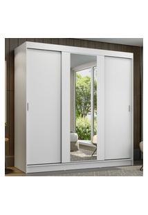 Guarda-Roupa Casal Madesa Reno 3 Portas De Correr Com Espelho Branco