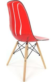 Jogo Mesa Jantar Eiffel Mesa Vidro 120Cm 4 Cadeiras Charles Eiffel Goede Policarbonato Mad. Vermelho